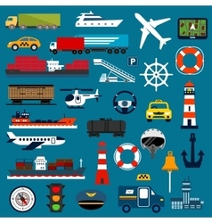 Transportation icons in flat style vector image vector image