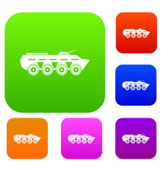 army battle tank set collection vector image