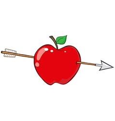 Arrow Through Red Apple vector image vector image