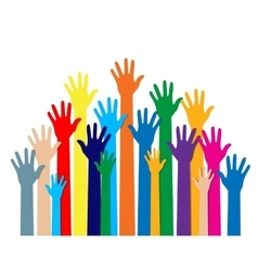 Group hands of different colors vector image