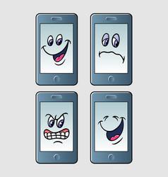 handphone emoticon icon cartoon character vector image