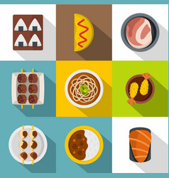 Japan food icon set flat style vector