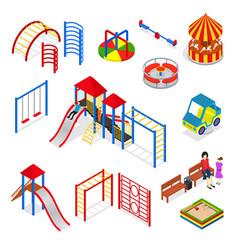 kids playground elements set isometric view vector image
