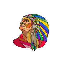 Native American Indian Chief Headdress Drawing vector image