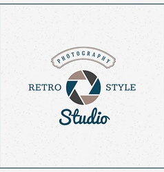 Photography Logo Design Template Retro Badge or vector image