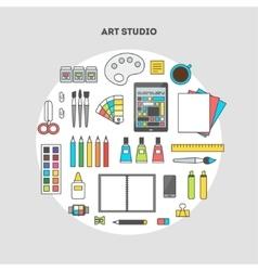 Set of flat icons for design art studio vector