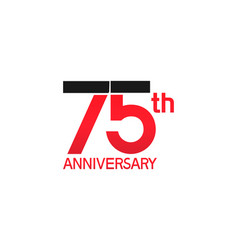 75 years anniversary logotype with black and red vector