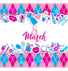 8 March card of icons vector image