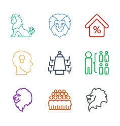 9 company icons vector image