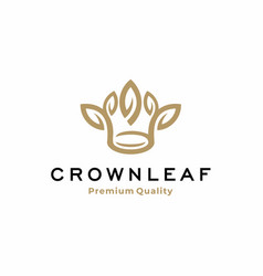 Abstract crown logo with leaf vector