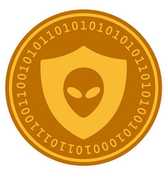 Alien protection digital coin vector