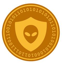 Alien protection digital coin vector