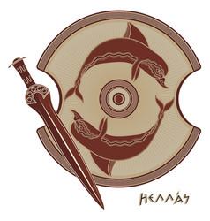 Ancient hellenic sword greek shield vector