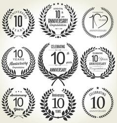 Anniversary laurel wreath collection 10 years vector