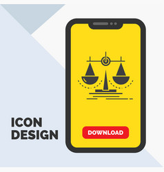 Balance decision justice law scale glyph icon in vector