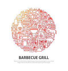barbecue grill circle concept vector image