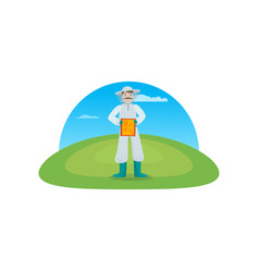 beekeeper collects honey from bees in nature a vector image