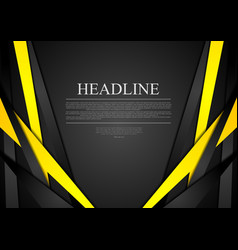 Black and yellow corporate tech striped vector
