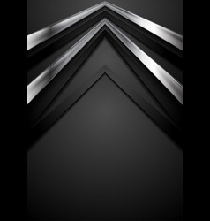 black technology background with metallic arrows vector image