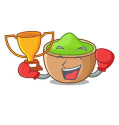 Boxing winner matcha powder in isolated with vector