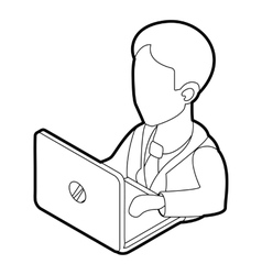 Businessman using his laptop icon outline style vector image