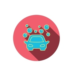Car wash icon Cleaning station with bubbles vector image