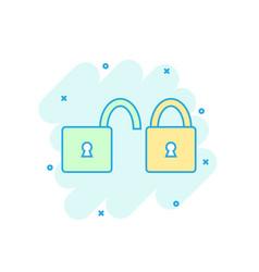 cartoon colored padlock icon in comic style lock vector image