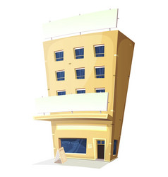 Cartoon inn restaurant building vector