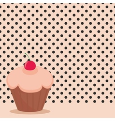 Cherry cupcake on black polka dots pink background vector image