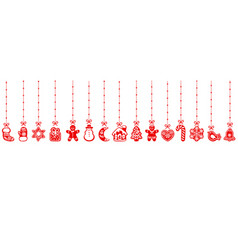 Christmas gingerbread cookies hanging on red vector