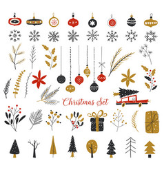 christmas new year design elements hand drawn vector image