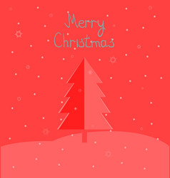 Christmas tree with flying snowflakes vector image