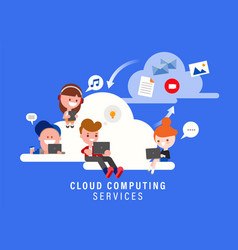 cloud computing services concept group people vector image