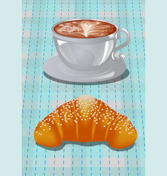 Coffee art and croissants vector