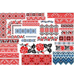 collection 30 seamless ethnic patterns vector image