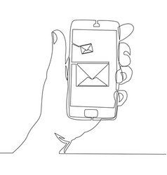 continuous one line phone with new message vector image