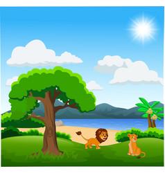 couple of lion cartoon on beautiful landscape vector image