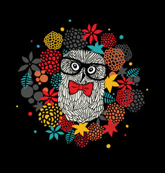 Creative portrait of hipster owl in glasses vector