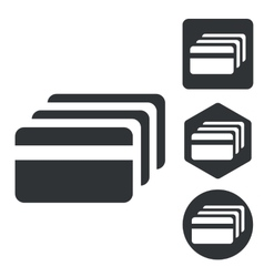 Credit card icon set monochrome vector