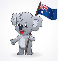cute smiling happy koala holding australian flag vector image