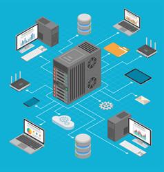 data network technology isometric vector image
