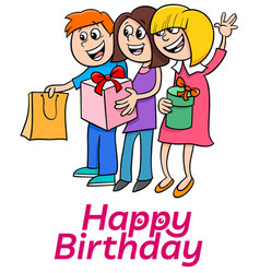 eighth birthday cartoon greeting card design vector image