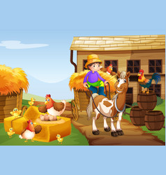 Farmer riding horse in the farm vector