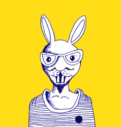 fashion of rabbit man vector image