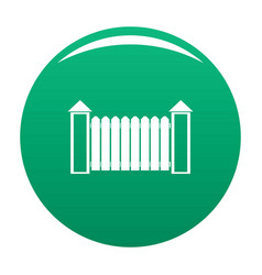 Fence with turret icon green vector