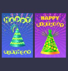 Festive cone cap happy birthday postcard vector