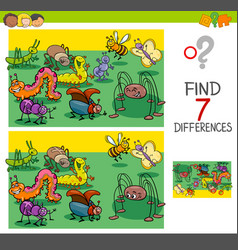 Find differences with bugs animal characters group vector