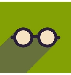 Flat icon with long shadow hipster glasses vector