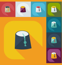 Flat modern design with shadow icons arabic cap vector
