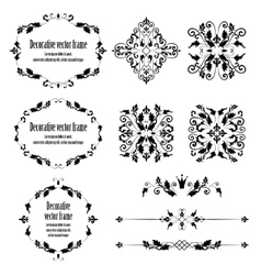 Floral design elements set ornamental vintage vector image